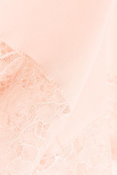 Hanro Ginevra Leavers Lace Trimmed Silk Crepe De Chine Pajama Shorts Pastel  Pink b319b77d0