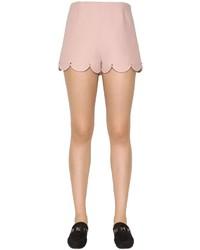 Valentino Wool Silk Crepe Shorts W Scallop Hem
