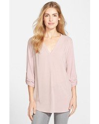 Nordstrom Pleione Mixed Media V Neck Tunic