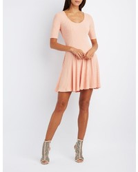 Charlotte Russe Ribbed Scoop Neck Skater Dress
