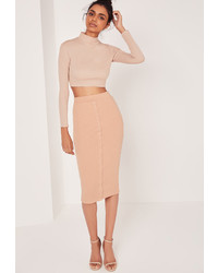 Missguided Ribbed Popper Through Midi Skirt Nude