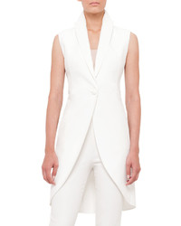 Akris Sleeveless One Button Crepe Tailcoat
