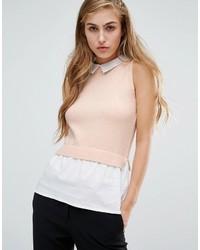 Miss Selfridge Sleeveless 2 In 1 Collar Top