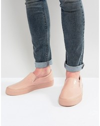 Asos Slip On Sneakers In Patent Pink With Chunky Sole