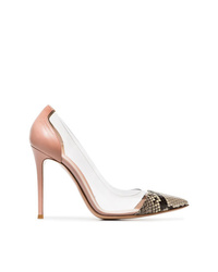 Gianvito Rossi Pink Beige And Black Plexi 105 Pvc And Leather Pumps
