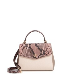 Tory Burch Robinson Snake Embossed Small Leather Satchel