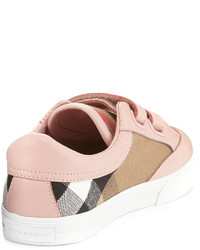 4497729680e5 ... Burberry Heacham Check Canvas Sneaker Peony Rosetan Toddleryouth Sizes  12t 2y ...