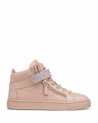 Giuseppe Zanotti Leather Crystal Strap High Top Sneaker Pink Youth
