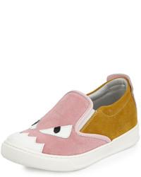 Fendi Suede Monster Slip On Sneaker Pinkyellow 4y Y