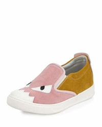 Fendi Suede Monster Slip On Sneaker Pinkyellow 4y Y