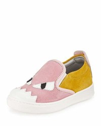 Fendi Suede Monster Slip On Sneaker Pinkyellow 8t 9t