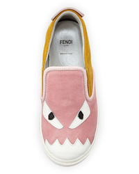 Fendi Suede Monster Slip On Sneaker Pinkyellow Toddler