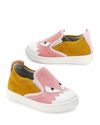 Fendi Suede Monster Slip On Sneaker Pinkyellow Toddler