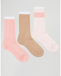 Asos Brand Tube Style Socks In Pink 3 Pack