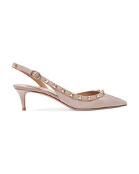 Valentino Garavani The Rockstud Patent Leather Slingback Pumps