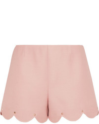 Valentino Studded Wool And Silk Blend Crepe Shorts Pink