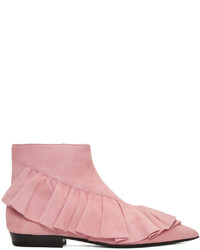 J.W.Anderson Pink Suede Ruffle Boots