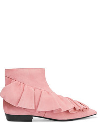 J.W.Anderson Ruffled Suede Ankle Boots Baby Pink