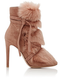 Gianvito Rossi Moritz Suede Fur Ankle Boots