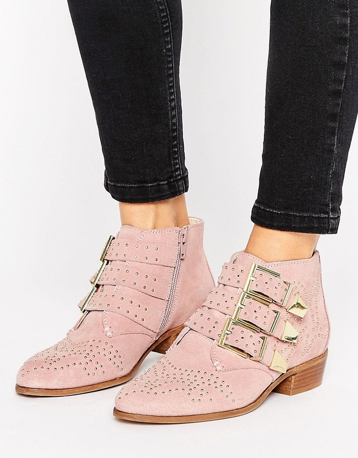 Office Stud Blush Suede Ankle Boots