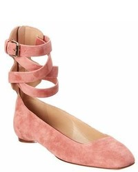 Valentino Suede Ankle Wrap Ballerina Flat