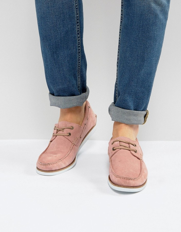 Asos Boat Shoes In Pink Suede With