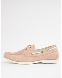 New Look Faux Suede Boat Shoes In Light Pink