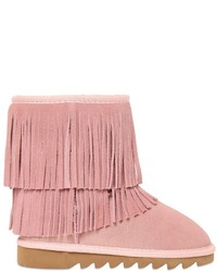 Colors of California Fringed Suede Faux Shearling Boots