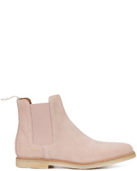 Pink Suede Chelsea Boots