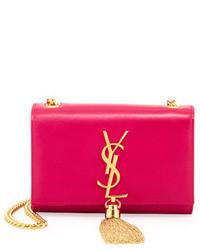 Saint Laurent Cassandre Small Tassel Crossbody Bag Pink