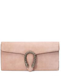 Gucci Dionysus Suede Clutch Bag Crystal Pink