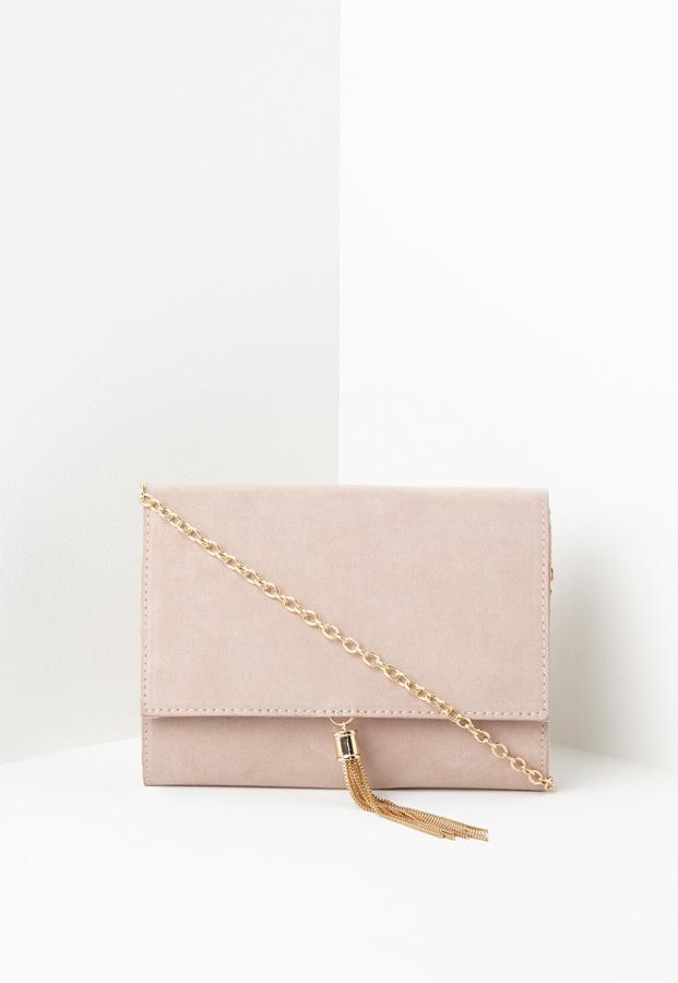 Missguided Faux Suede Mini Tassel Clutch Bag