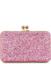 Sidney glittered suede clutch pink medium 3659556