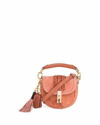 Mini braided top handle saddle bag pink medium 3697785