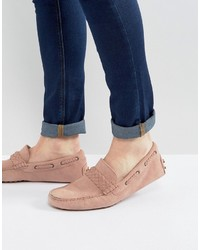Asos Driving Shoes In Pink Suede With Braid Detail