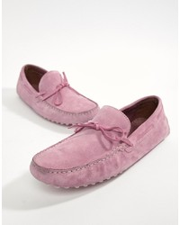 ASOS DESIGN Driving Shoes In Pink Suede With Tie Front