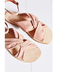 Pink Suede Flat Sandals