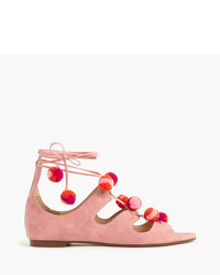 J.Crew Suede Caged Gladiator Sandals With Pom Poms
