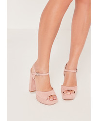 Missguided Platform Heeled Sandals Pink
