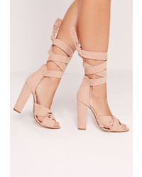 Missguided Twist Strap Block Heeled Sandals Pink