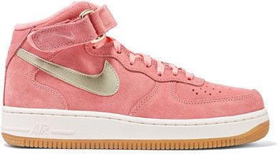 check out 84aad 0df13 $110, Nike Air Force 1 Leather Trimmed Suede High Top Sneakers Pink
