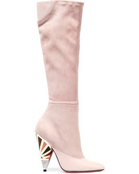 Pink Suede Knee High Boots