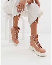 New Look Chunky Flat Boots In Nude