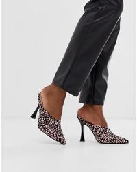 ASOS DESIGN Phillis Flared High Heel Mules In Leopard Print