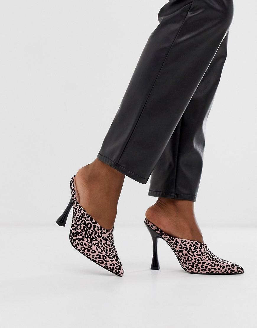 9befa23c683 Phillis Flared High Heel Mules In Leopard Print