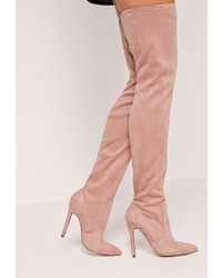 Missguided pointed toe over the knee heeled boots pink medium 833605