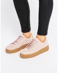 Pink Suede Oxford Shoes