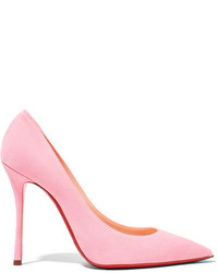 Christian Louboutin Decoltish 100 Suede Pumps Pastel Pink