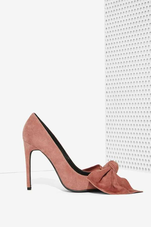 6d9ae065745 ... Jeffrey Campbell Grandame Suede Bow Pump Dusty Rose ...