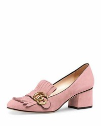 Gucci Marmont Fringe Suede 55mm Loafer Crystal Pink
